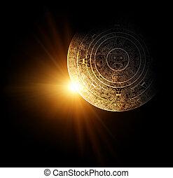 Maya prophecy  - Sun and Maya calendar. 3d render