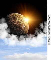 Maya prophecy - Vertical background with Maya calendar and ...