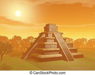 Maya pyramid - 3D render - Maya pyramid on green grass and...