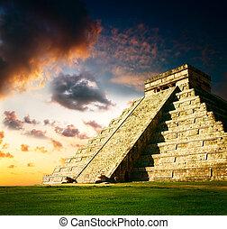 maya, pyramide, itza, chichen