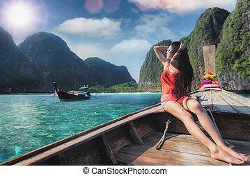 maya, relaxe, senhora, cauda longa, asiático, praia, bote