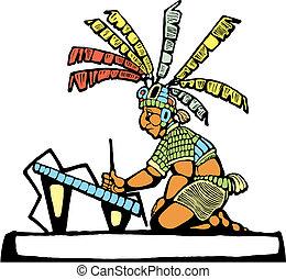 maya, rey, y, escriba