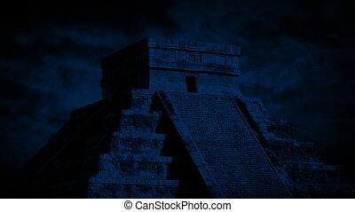 maya, temple, nuit