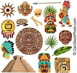 maya, traditionnel, dessin animé, ensemble