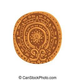 maya, tribal, maya, illustration, symbole, calendrier, culture, américain, vecteur, civilisation, fond, blanc, élément
