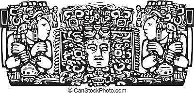 Maya Triptych Woodblock A - Woodblock style Mayan Triptych...