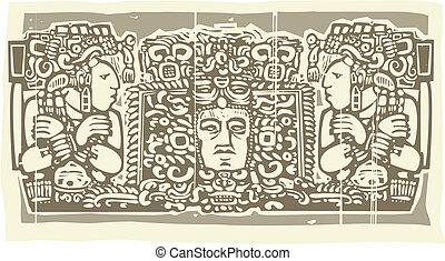 Maya Triptych Woodblock B - Woodblock style Mayan Triptych...