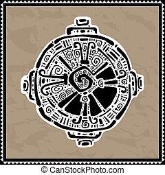 maya, vector, ku., símbolo., hunab, illustration.