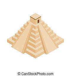 maya, yucatán, pirámide, icono