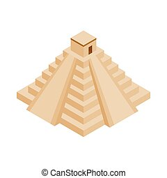 maya, yucatan, pyramide, icône