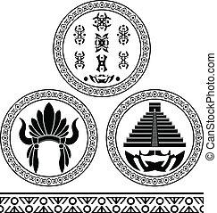 mayapyramiden itza el stil holzschnitt chichen bild. Black Bedroom Furniture Sets. Home Design Ideas