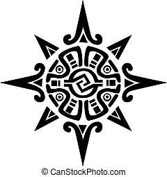 mayan , ή , incan , σύμβολο , από , ένα , ήλιοs , ή , αστέρι