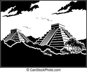 mayan, ジャングル, ピラミッド