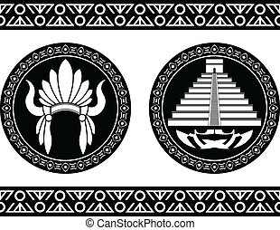 mayan, ピラミッド, 頭飾り
