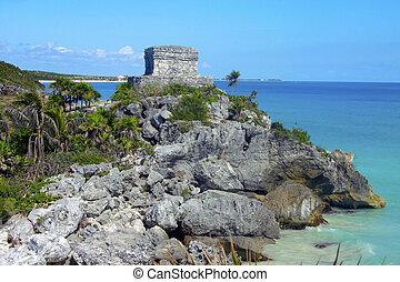 mayan, 毀滅, 在, tulum, 海岸