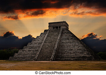 mayan, 金字塔, 在, chichen-itza, 墨西哥