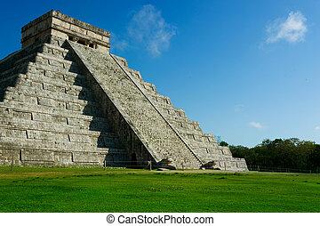 mayan, 金字塔, chichen itza, 墨西哥