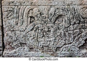 mayan, 雕刻品, 在, chichen itza, 旅行, 透過, mexico.