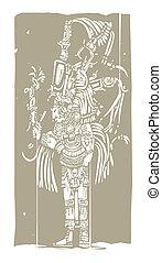 Mayan A Woodblock - Mayan warrior designed after ...