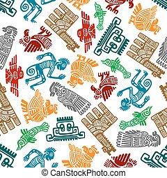 Mayan and aztec tribal totems seamless pattern