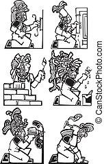 mayan, arbeider, gebouw stel