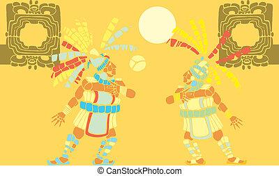 Mayan Ballgame #2 - Two Mayan Ballplayers in ball court...