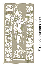 Mayan Bowl Woodblock A - Mayan priest with offering bowl in ...