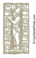 Mayan Bowl Woodblock B - Mayan priest with offering bowl in...