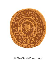 Mayan calendar, Maya civilization symbol, American tribal culture element vector Illustration on a white background