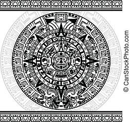 Mayan calendar - Vector of Mayan calendar on white...