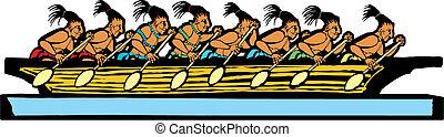 Mayan Canoe - Mayan canoe done in temple mural style.