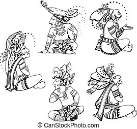 Mayan characters - People characters in ancient maya style. ...