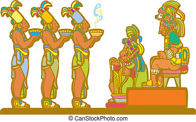 Mayan Court - Mayan king and court receiving tribute derived...