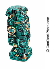 Mayan deity statue from Mexico isolated on white background