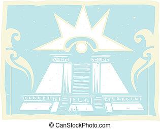 Mayan Double Pyramid with Venus Eye Glyph