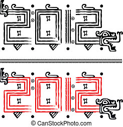 Mayan dragon 2012 - Vector image of Dragon making 2012 in...