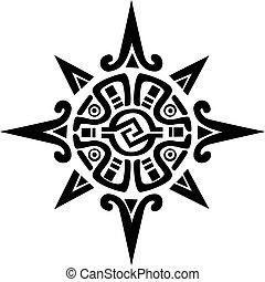 mayan, eller, incan, symbol, i, en, sol, eller, stjerne
