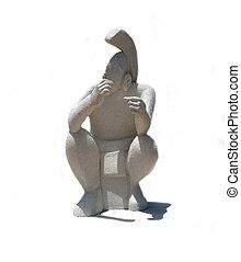 mayan, estátua