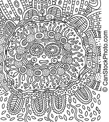 Mayan face. Doodle coloring page for adults with maya.