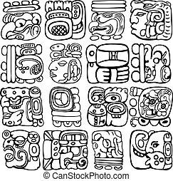Mayan Glyphs - Vector set of Mayan and aztec glyphs with...