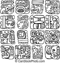 Mayan Glyphs - Vector set of Mayan and aztec glyphs with ...