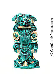 Mayan god statue from Mexico isolated on white background