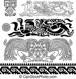 Mayan gods and ornaments on white