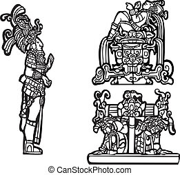 Mayan Group C - Black and white mayan spot image group.