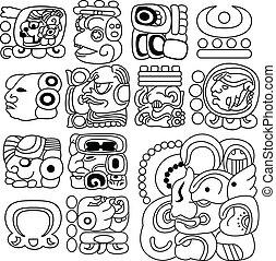 Mayan hieroglyphs - Vector image of ancient Mayan...