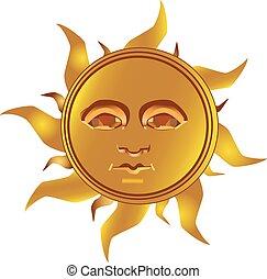 Mayan Incan sun - Maya, vector - Mayan - Inca type of golden...