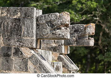 Mayan Jaguar Figurehead Sculptures at the Archaeological Site in Chichen Itza, Mexico
