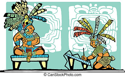 Mayan King and Scribe - Mayan King on throne being recorded ...
