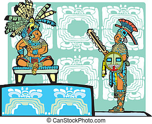 Mayan King and Warrior - Mayan King on throne speaks to a...