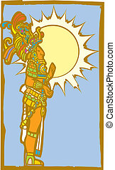 Mayan Lord with Sun - Mayan lord with the sun and sky as a...